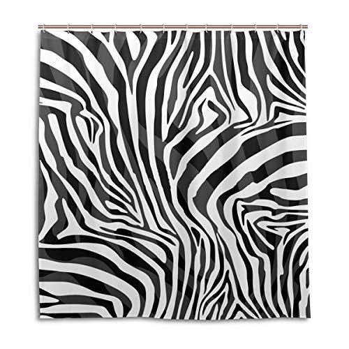 BIGJOKE Duschvorhang, Abstraktes Zebra-Muster, schimmelresistent, wasserdicht, Polyester, 12 Haken, 167,6 x 182,9 cm, Heimdekoration