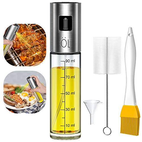 Spruzzatore Olio 100ml, Dispenser Spruzzatore di Olio/Aceto Portatile, Tappo in Acciaio Inossidabile Premium Bottiglia in Vetro con 2 Pennelli e 1 Imbuto per Cucinare,Pasta,Insalata,Barbecue