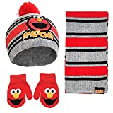 Sesame Street Elmo Scarf, Hat and Mitten Set for Toddler Boys, Grey/Red, Age 2-4