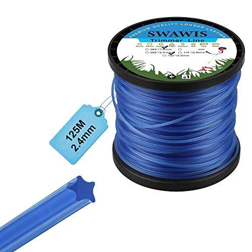 SWAWIS Trimmerfaden 2,4mm/125m Rasen Mähfaden Ersatzfaden für Rasentrimmer, 5-Kant Ersatz Nylonfaden Motorsense Trimmerschnur, Blau