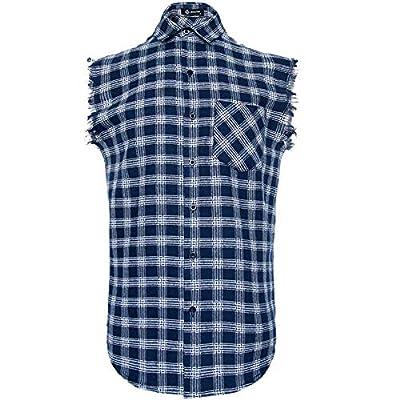 Sleeveless Plaid Front Shirt for Men,Cowboy Button Down Shitrs