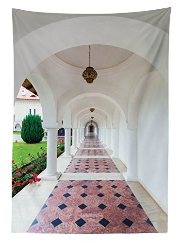 """Ambesonne Travel Outdoor Tablecloth, Dome Arched Colonnade Hallway at Sambata De Sus Monastery in Transylvania Romania, Decorative Washable Picnic Table Cloth, 58"""" X 120"""", White Green"""