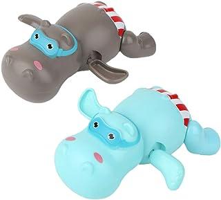 TOYANDONA 2pcs Baby Bath Toy Animal Wind-Up Toy Swimming Hippos Cartoon Bathtub Toy Bathroom Squirters Toy Boats Birthday ...