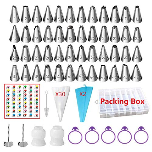 ANSLYQA 92 Pcs Icing Piping Tips and Bags Set with 48 Numbered Icing Tips & Pattern Chart,32 Pastry Bags,2 Flower Nails,2 Small Couplers,5 Frosting Bag Ties for Cake Decorating