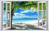 Palmen Meer Strand Beach Karibik Wandtattoo Wandsticker Wandaufkleber F0316 Größe 70 cm x 110 cm