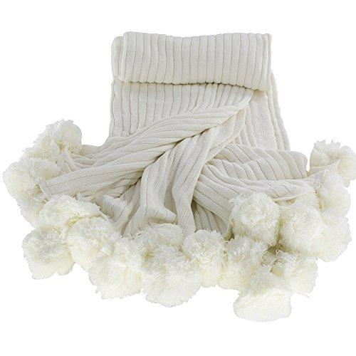 MYLUNE HOME 100% Baumwolle Mode Gestrickte Decke auf Stuhl Sofa und Bett für Bettwäsche und schlafende 150x200cm