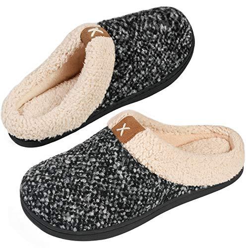 VeraCosy Zapatillas de Estar por Casa Mujer Espuma de Memoria Cómoda Forro de Felpa Interior&Exterior Antideslizantes Pantuflas,Color Negro,Talla 40-41 EU