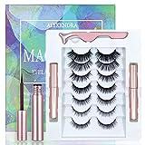 Magnetic Eyelashes With Eyeliner 7 Pairs Kit 2021 Upgraded,3D Magnetic Eyelashes Set Natural Look Fluffy Reusable