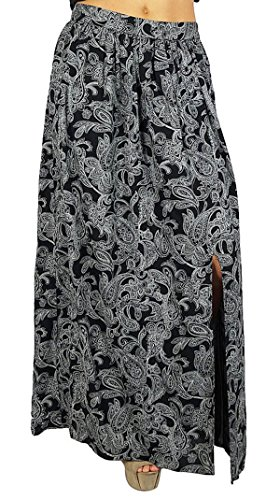 Bimba Women Long Black Skirt Printed with Slit Poly Cotton Bohemian Style Wrap