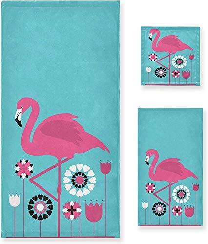 OMAJIG - Juego de 3 toallas decorativas de lujo con diseño de flamenco rosa con flores, 1 toalla de baño+1 toalla de mano+1 toalla, multiusos para baño, hotel, gimnasio, spa y cocina