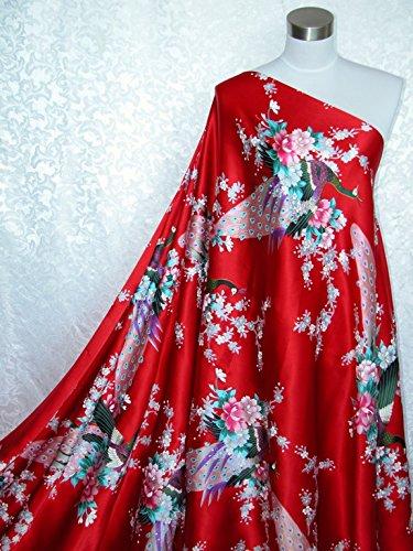 100% Pure Silk Charmeuse Fabric Red Peacock Per Yard