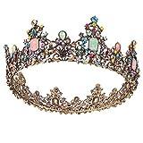 Minkissy - Tiara da damigella d'onore con corona in Mluticolor con pietre preziose e diamanti