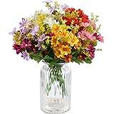 XONOR - 10 ramos de flores artificiales de seda falsas, flores de ganso, plantas para interior,...
