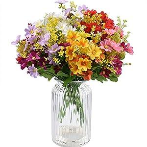 XONOR – 10 ramos de flores artificiales de seda falsas, flores de ganso, plantas para interior, hogar, boda, decoración