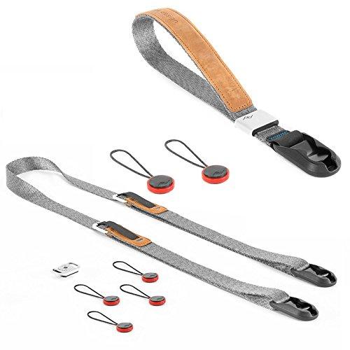 Peak Design Compact Strap Pack Ash - Set mit Leash-Kameragurt und Cuff-Handschlaufe - für DSLM-Kameras, Kompaktkameras und kleine Einsteiger-DSLRs