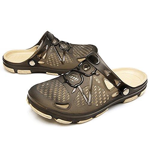 techcity Unisex Garden Clogs Outdoor Walking Sandals Breathable Sport Slides Summer Non Slip Pool Beach Shower Slippers Shoes Black