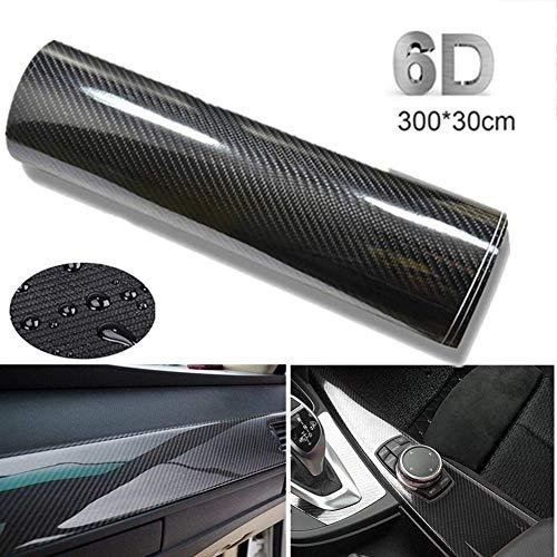 BangShou Fibra de Carbono Película Pegatina de Decoración Autoadhesiva A Prueba de Agua Libre de Burbuja (Negro 6D)