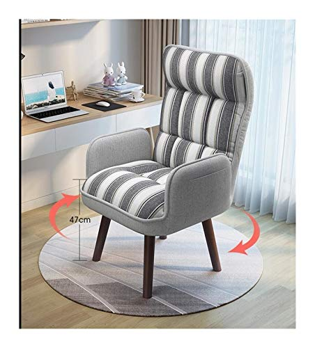360 Degree Swivel Foldable Accent Armchair Home Living Room Furniture Reclining Folding Sofa Low Chair With (Color : Gray Strip Color)