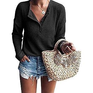Women's Casual Waffle Knit Tunic Tops Loose Henley Shirts