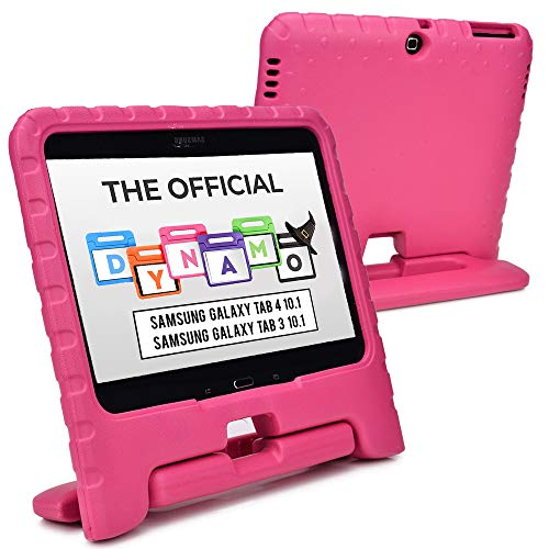 Cooper Dynamo [Rugged Kids Case] Protective Case for Samsung Tab 4 10.1, Tab 3 10.1 | Child Proof Cover with Stand, Handle | SM-T530 T531 T535 (Pink)