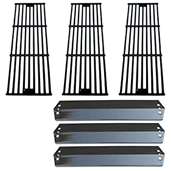 Direct Store Parts Kit DG234 Replacement for Chargriller 3001,3008,3030,40,00 5050,5252  King Griller 3008,5252 Gas Grill  Porcelain Steel Heat Plates + Porcelain Cast Iron Cooking Grid
