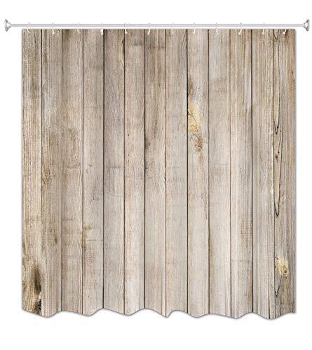 A.Monamour Hellbraun Vertikale Planken Boden Holz Textur Druck Antibakterielle Mehltau Resistent Wasserdicht Stoff Polyester Duschvorhang Für Bad 180X200 cm / 72