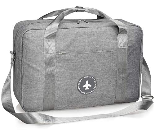 Weekender Bag Lightweight Overnight Carry on Shoulder Bag with Tag and Strap in Trolley Handle (Large)