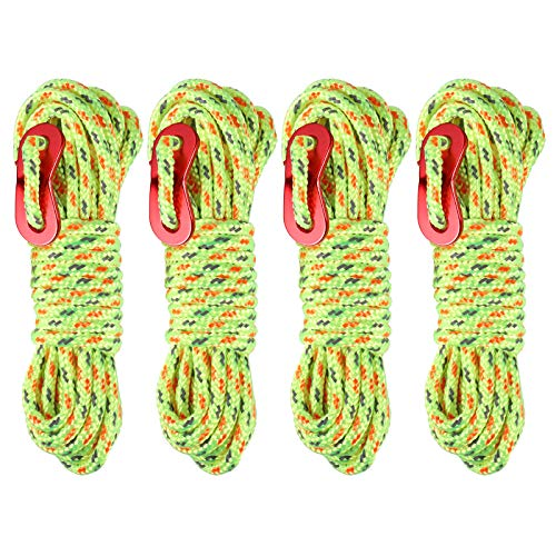 Rybtd 4PCS Outdoor Guy Rope with Guy Line Tensioner Portable Guide Ropes for Tents High Visibility Camping Cord Fluorescent Green Awning Gazebo Reflective Rope Suit for Hiking Garden Climbing Hammock