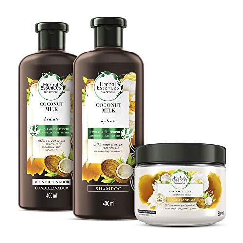 Herbal Essences Shampoo con Acondicionador Bío renew Coconut Milk 400 ml y Tratamiento Intensivo 300 ml