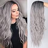 Peluca rubia, efecto ombré, con raíces oscuras, larga, ondulada, peluca sintética, para mujeres, disfraz, fiesta o uso diario