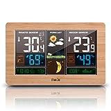 ★All-in-One Funktionen ----- Farbwettervorhersage und USB-Ladegerät; Innen- / Außentemperatur und Feuchtigkeit; MIN/MAX Temperatur- und Feuchtigkeitsanzeige; Luftdruck; DCF Funkuhr; Mondphase; tägliche Alarm- und Schlummerfunktion; 5 Stufen Helligkei...