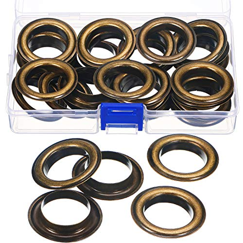 25 Sets 1-Inch Grommets Kit Metal Eyelets with Washers Antique Copper Curtain Grommet for Leather, Tarp, Canvas (Bronze)