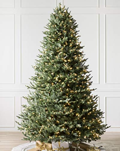 Balsam Hill 7.5ft Premium Pre-Lit Artificial Christmas Tree BH Balsam Fir with Clear LED Lights, Storage Bag, and Fluffing Gloves