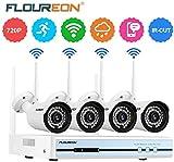 FLOUREON 1080P Kit Telecamere Videosorveglianza WiFi NVR/DVR, 4CH CCTV Videocamera WirelessInterno/Esterno, 4X 720P Telecamere di Sorveglianza IP66 Motion Detection Supporto P2P