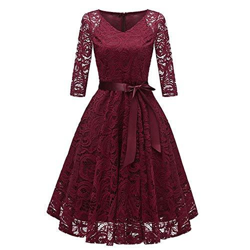 Vestido de manga con cuello en V para mujer, estilo vintage, casual, color sólido, encaje, cóctel, fiesta, columpio