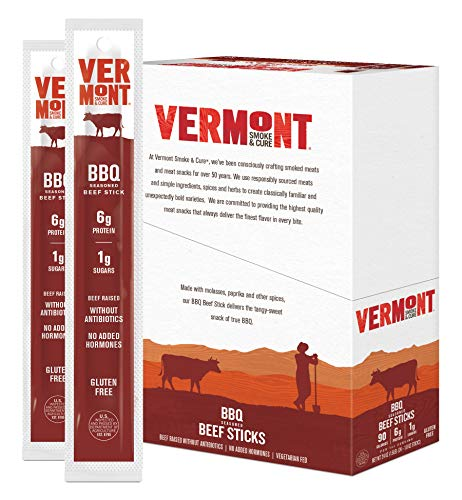 Vermont Smoke and Cure Meat Sticks, Antibiotic Free, Gluten Free, BBQ, Great Keto Snack, High in Protein, Low Sugar Stick (32573) , BBQ Beef, 1 Ounce (Pack of 24), 24 Count