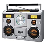 Sound Station Portable Stereo Boombox with Bluetooth/CD/AM-FM Radio/Cassette Recorder (Silver)