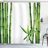 ABAKUHAUS asiático Cortina de Baño, Ramas de bambú de la Planta, Material Resistente al Agua Durable Estampa Digital, 175 x 200 cm, Helecho Verde Blanco