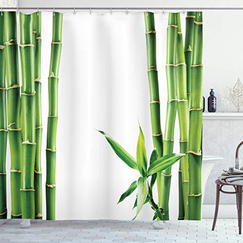 ABAKUHAUS Asiático Cortina de Baño, Ramas de Bambú Tallos Cañas Plantas Tropicales Follaje Natural Fengshui, Material Resistente al Agua Durable Estampa Digital, 175 x 200 cm, Verde Hoja