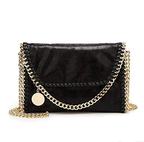 Angleliu Damen PU lässigen Kette Handtasche Modisch Schultertaschen Glitzer Beuteltasche (Kleine schwarze Goldkette)