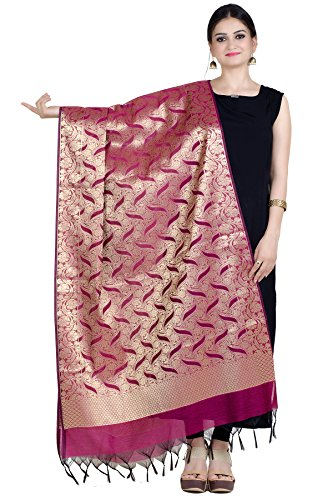 Chandrakala Women's Handwoven Pink Zari Work Banarasi Dupatta Stole Scarf,Free Size (D158PIN)