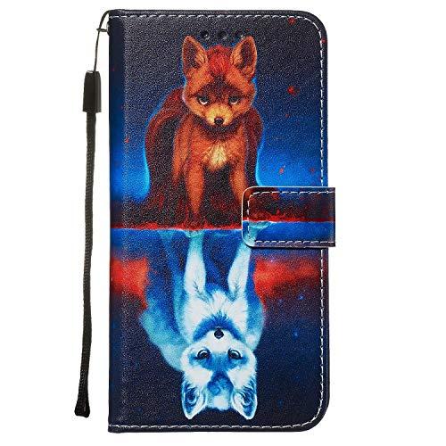 Nadoli Leder Hülle für Huawei P40 Lite,Bunt Fuchs Malerei Ultra Dünne Magnetverschluss Standfunktion Handyhülle Tasche Brieftasche Etui Schutzhülle