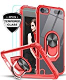 iPod Touch 7 Case, iPod Touch 6 Case, iPod Touch 5 Case with Tempered Glass Screen Protector [2Pack],LeYi Military Grade Clear Crystal Case with Kickstand for Apple iPod Touch 7th/ 6th/ 5th Gen, Red