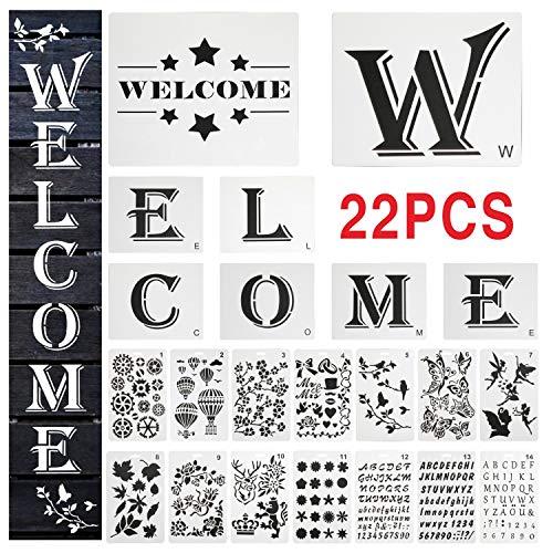 YUNDE Welcome-Zeichen Schablonen zum Malen auf Holz Veranda & 2 Packungen englisches Alphabet Schablonen Wiederverwendbare Mylar-Schablonen – DIY Craft Schablonen