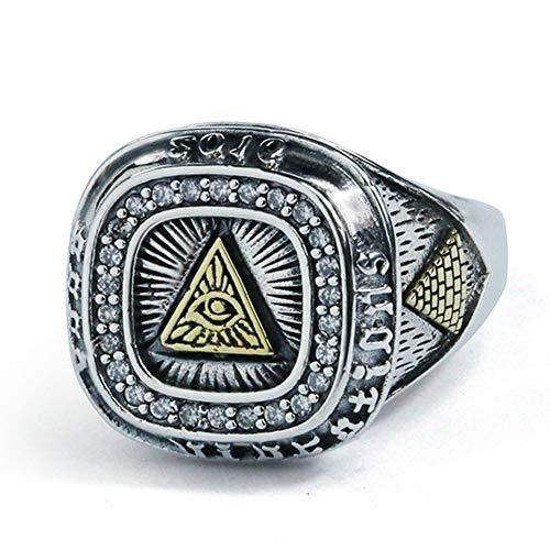 Nordische MythologierI Auge des Ra Ringe Horusauge glänzend Sterling Silber 925 Punk Wind Pagan Amulett Rune Schmuck Geschenk für Männer Jungen (HK Größe 16 bis 24)
