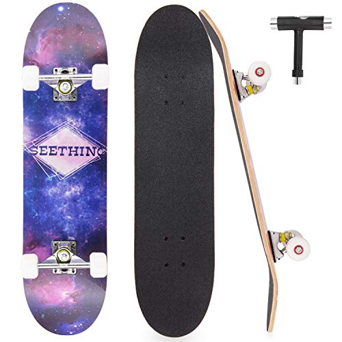 """HUABEIGM Skateboard for Beginners , 31""""x8"""" Complete Skateboard for Teens, Beginners, Girls, Boys, Adults, 7 Layer Canadian Maple Double Kick Deck Concave Cruiser Trick Skateboard"""