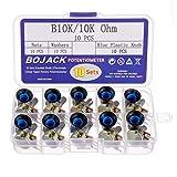 BOJACK 10 juegos B10K 3 terminales Potenciómetros rotativo cónico lineal (WH148) 10K Ohm Resistencia variables de película de carbono con kit de perillas de plástico azul