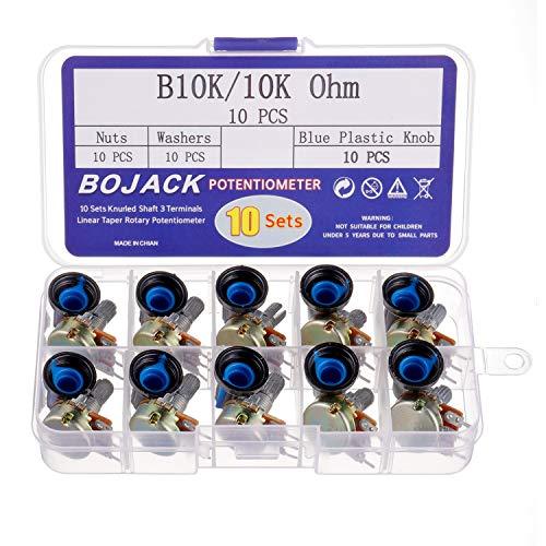BOJACK 10 Sätze B10K Rändelwelle 3 Klemmen Linearkegel potentiometer (WH148) 10K Ohm Single-Turn Kohleschicht Variable Widerstände mit blauen Kunststoffknöpfen