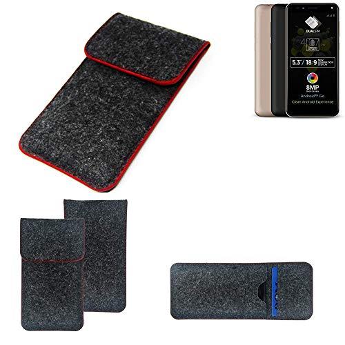 K-S-Trade Handy Schutz Hülle Für Allview A9 Plus Schutzhülle Handyhülle Filztasche Pouch Tasche Hülle Sleeve Filzhülle Dunkelgrau Roter Rand