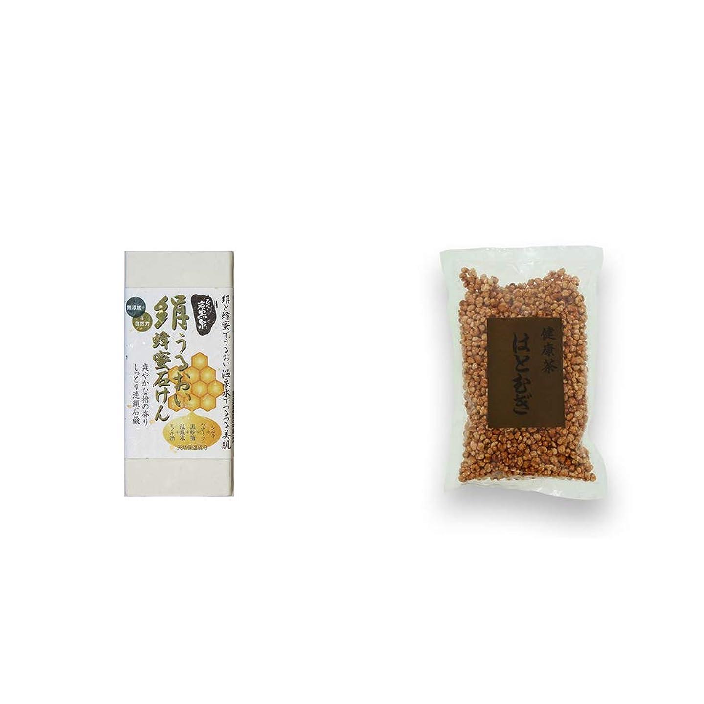 [2点セット] ひのき炭黒泉 絹うるおい蜂蜜石けん(75g×2)?健康茶 はとむぎ(200g)